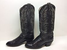 WOMENS UNBRANDED COWBOY LEATHER BLACK BOOTS SIZE 6