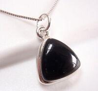 Black Onyx Triangle 925 Sterling Silver Pendant Corona Sun Jewelry