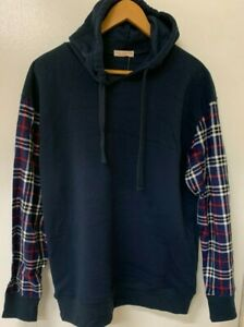 COAST HIGHWAY Mens Hoodie with Flannelette Sleeves BNWT Size Large Blue