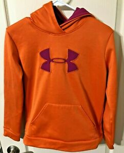UNDER ARMOUR STORM Orange Long Sleeve Hoodie Sweatshirt Youth Size - Large