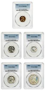 1940 Proof Set PCGS Proof 63-66 (5 Coins)