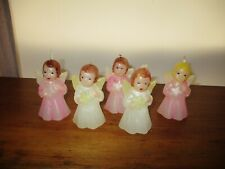 "Rare Vintage 1940's 3"" Wax Angel Figural Christmas Candles ~ Very Nice!"