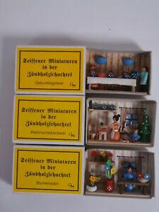 ~ Seiffener Miniature Matchbox Erzgebirge Diorama Wood German 3 x Seiffen No. 3