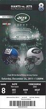 2011 NFL NY GIANTS @ NEW YORK JETS FULL UNUSED FOOTBALL TICKET