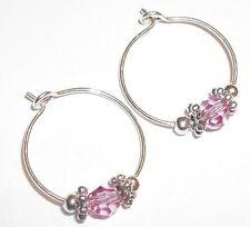 Baby Child Girl Hoop Earrings: Pink (rose) Crystal & Silver Made w/ Swarovski
