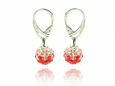 Shamballa Disco Balls Red, Light Pink & White Fusion Drop Earrings E432