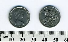 New Zealand 1975 - 5 Cents Copper-Nickel Coin - Queen Elizabeth II - Tuatara