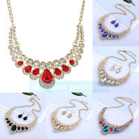 Fashion Women Jewelry Crystal Pendant Choker Chunky Statement Chain Bib Necklace
