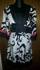 Bebe Kimono Dress S Silk Trim Mod Art Print Tie Back Black Red White Floral