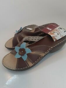 Size 4.5 Hotter Katy Ladies Leather Sandals Brown with Flower Trim