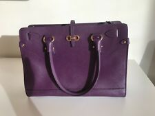 SALVATORE FERRAGAMO Purple Saffiano Leather Briana Tote Bag with shoulder strap