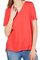 Eileen Fisher Womens Blouse Orange Size Medium PM Petite Knit V-Neck $128 177