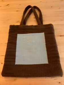 Jonathan Adler Wool Tote Bag Chocolate Brown and Baby Blue Square