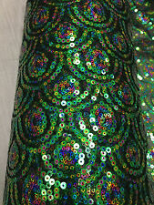 "Sequin mermaid big scales green/pink/blue on mesh fabric 52""/54"" sold by yard"