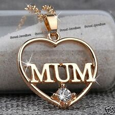 Mum Heart Crystal Gold Pendant Necklace Xmas Jewellery Gift For Her Mother Women