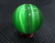 2017Hot Sell Asian Quartz Green Cat Eye Crystal Healing Ball Sphere 40MM + Stand