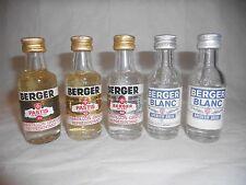 Lot de 5 mignonettes Pastis BERGER Non Ouvertes (blanc, de marseille, caramel..)