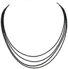 Rondelle Faceted Beads Necklace 4 Strand Natural Black Spinel Gemstone HF-52525