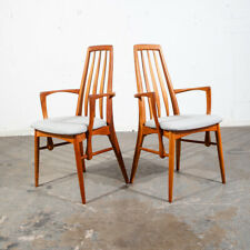 Mid Century Danish Modern Dining Chairs Eva Kofoed Armchair 2 Pair Teak Arm Grey