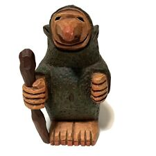 Vintage Hand Carved Wood Norwegian Troll W/ Walking Stick Artist Signed Fh 1976