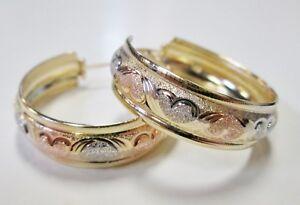 Beautiful Large 14k Multi-tone Gold Medium Hoop Earrings HEARTS Design SHINY