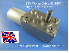12V DC WORM DRIVE HIGH TORQUE Motor & G/box 62 RPM - Available in UK