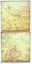 2 Parts Of Wall Picture Plaque, Vintage Retro style, Hand Made Decoupage Old Map