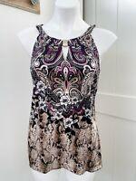 White House Black Market Silk Metamorphosis Purple Black Tan Floral Tank Small