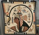 Antique Egyptian Egypt Hand Applique Textile Tapestry PHARAOH AND The ASP SNAKE