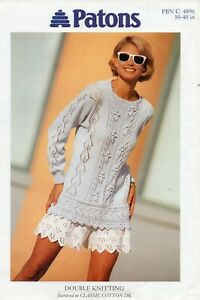 """~ Patons Knitting Pattern For Lady's Lovely Lacy Tunic Sweater ~ 30"""" ~ 40"""" ~"""