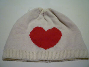 NWT: BABY GAP Intarisa Red Heart on Light Tan Cotton Beanie Hat, 3-6 Months,