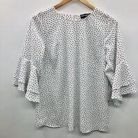 Karl Lagerfeld Womens Size Small Bell Sleeve Polka Dot Blouse White Black 606