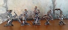 Pewter Circus Clown Figurines Lot of 5 Miniature
