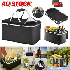30L Insulated Folding Picnic Camping Shopping Cooler Cool Hamper Basket Bag Box