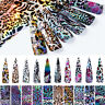 10 x LASER LEOPARD Nail Art Foils Nail Transfer Foil Wraps Decal Glitter Sticker