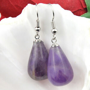 Classic Water Drop Natural Amethyst Gemstone Silver Dangle Earrings 1 1/2 INCH