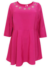 New Evans Pink Jewel Embellished Peplum Top Plus Sizes 14 16 18 20 22 24