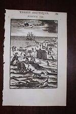 ✒ 1683 MANESSON MALLET Cabanes hollandais île NOUVELLE ZEMBLE nord RUSSIE