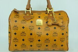 100% Authentic MCM Cognac Visetos Boston Hand Bag With Dogbone Charm