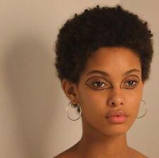 Hot Women Short Yaki Curly Wigs Brazilian Remy Human Hair Wigs No Lace Black Wig