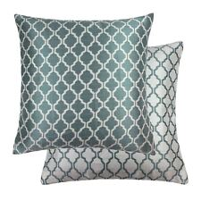 """JACQUARD MOROCCAN-STYLE PATTERNED TEAL WHITE 22"""" - 55CM CUSHION COVER"""