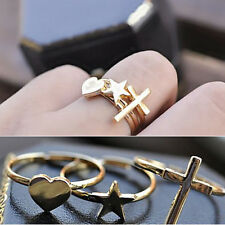 Three Piece Ring Beauty Retro Heart-shaped Five-pointed Star Cross Ring LC