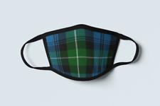 Clan Lamont Tartan Face Mask Scottish Plaid Covering Green Blue Polyester Mask