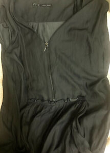 ZARA Long Gray Silky Jumpsuit Romper Playsuit front Zip Relaxed Fit  size L