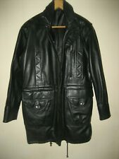 A MENS LONG BLACK LEATHER COAT SIZE MEDIUM FASTENER ZIP / CORD / BUTTONS