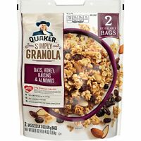 Quaker Simply Granola, Oats Honey Raisins and Almonds, Two 34.5oz Bags