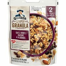 Quaker Simply Granola, Oats Honey Raisins and Almonds, Two 34.5oz Bags
