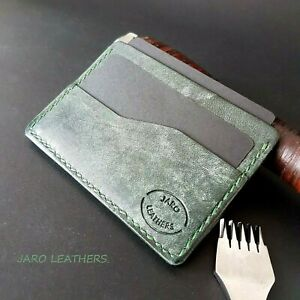 Card case, leather case for credit cards handmade ,dark green color