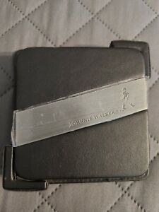 Johnnie Walker Scotch Whiskey Set of 4 Leather / Stainless Coasters with Holder