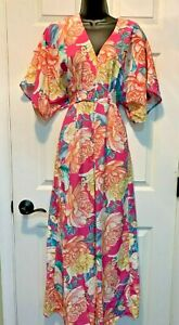 Anthropologie Farm Rio Eulalie Wide-Leg Jumpsuit Pink Floral $178 S Small NWT